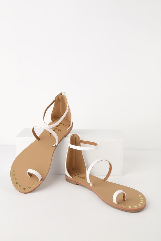 2ee54d678a7 Boho White Sandals - Flat Sandals - Ankle Strap Sandals