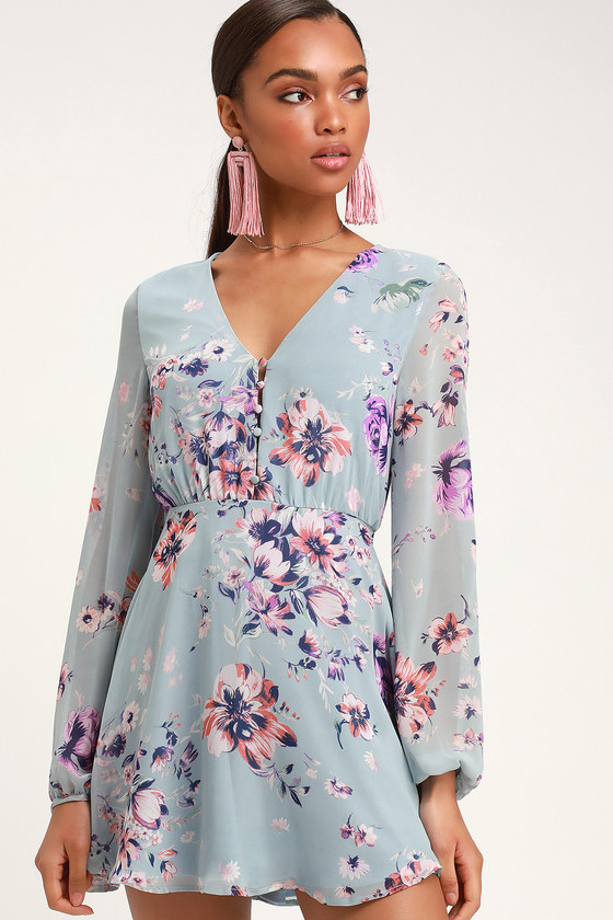 0ccd481a05e92 Always Yours Light Blue Floral Print Long Sleeve Skater Dress
