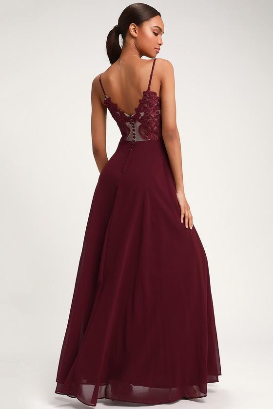 ea13c70fa4d3 Glam Burgundy Dress - Lace Maxi Dress - Button Back Maxi Dress