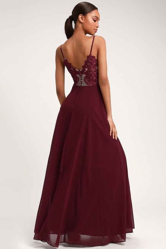 Romantic Ways Burgundy Lace Button Back Maxi Dress by Lulus