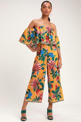 2ff3d286e0ce Honolulu Golden Yellow Floral Print Off-the-Shoulder Jumpsuit