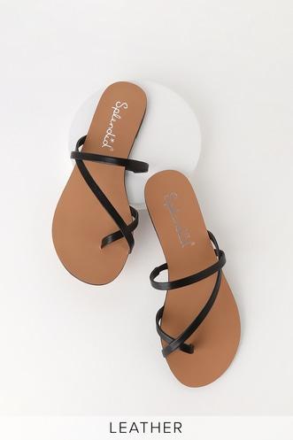 1870dfdf030 Trenton Black Flat Leather Sandals