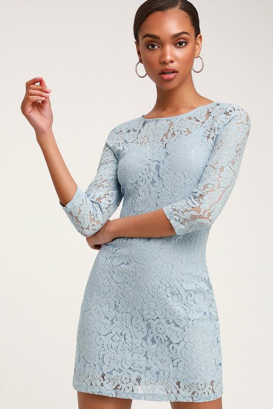 71560716f Jack by BB Dakota Cool as Ice Dress - Blue Lace Bodycon Dress