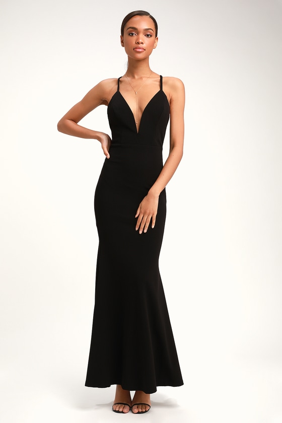 8fd034fccdbd Pretty Black Dress - Plunging Maxi Dress - Racerback Dress