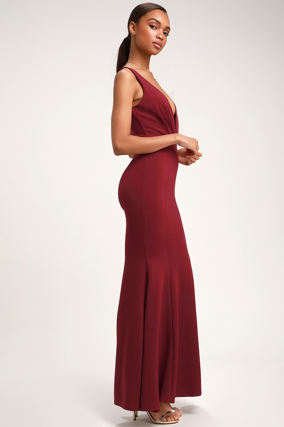 02940783c0 Stunning Burgundy Dress - Mermaid Maxi Dress - Plunging Dress