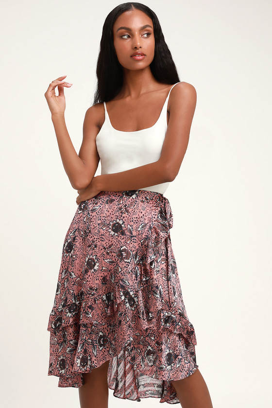 42b301862b Cute Mauve Floral Print Wrap Skirt - Metallic Wrap Skirt