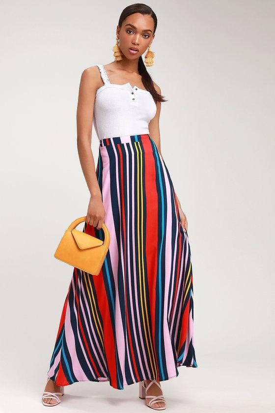 60s Skirts | 70s Hippie Skirts, Jumper Dresses Van Nuys Navy Blue Multi Striped Maxi Skirt - Lulus $54.00 AT vintagedancer.com