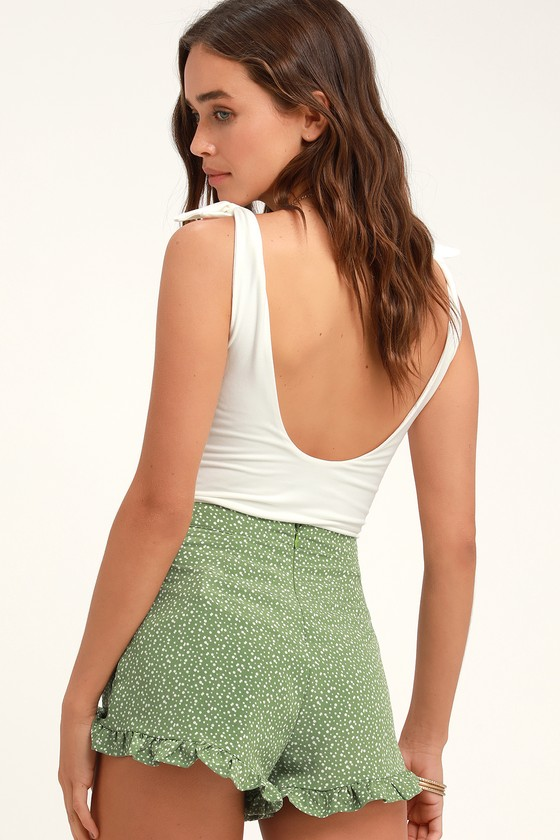 Keep Her Wild Green Polka Dot Ruffled Shorts - Cute Polka Dot Outfit