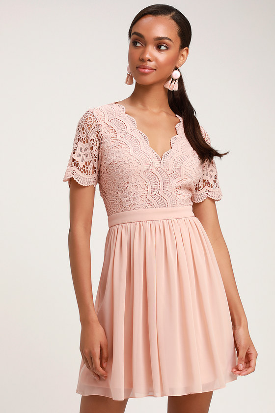 a66549518b8 Lovely Blush Lace Dress - Lace Skater Dress - Mint Short Dress