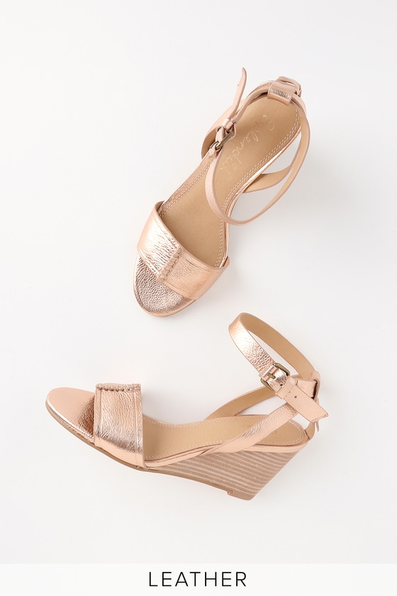 fdc98e64451 Tadeo Rose Metallic Leather Wedge Sandals