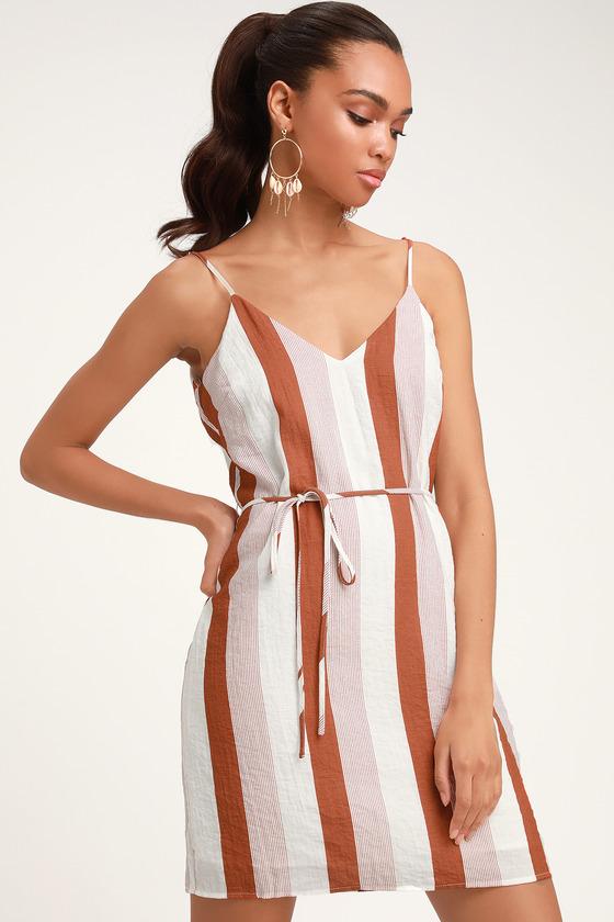 b57ad61523a Cool Rust Orange Striped Dress - Sheath Dress - Sleeveless Dress