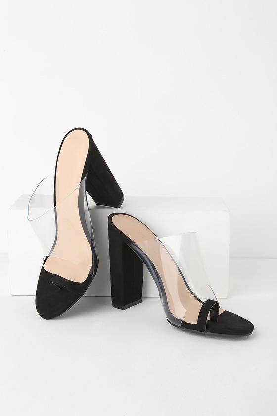 Makayla Black Suede Vinyl High Heel Sandals by Lulu's