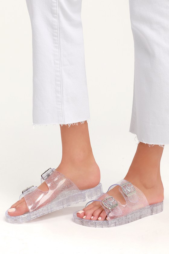 922ea90e921e MIA Jewel - Clear Jelly Sandals - Glitter Jelly Sandals