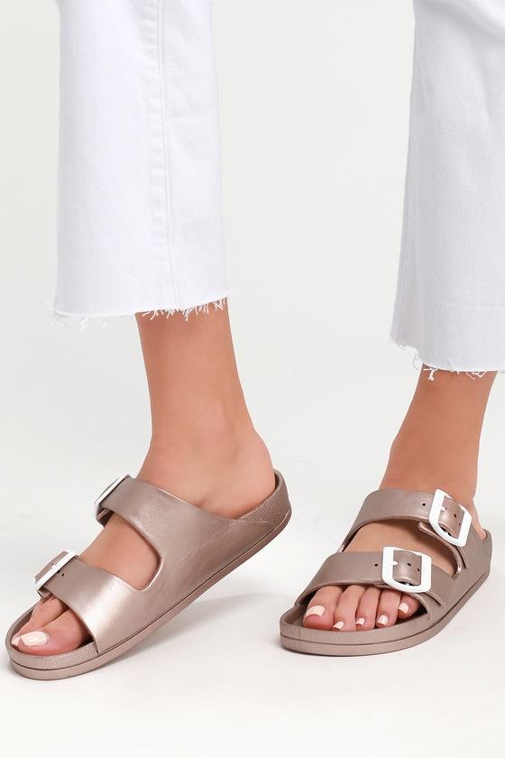 189baf49bb0e4f MIA Jasmin - Rose Gold Sandals - Slide Sandals - Buckle Sandals