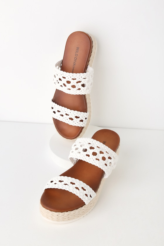 129aef55ffa693 Fun White Espadrille-Wrapped Sandals - Cute Espadrille Flatforms