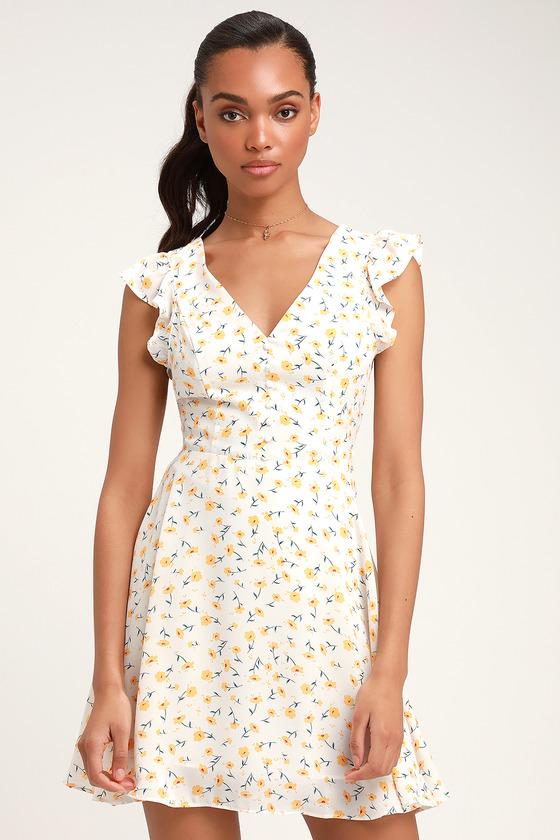 Cute White Floral Print Dress - Backless Dress - Skater Dress bcad4865e