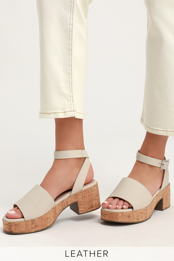 Seychelles CALMING INFLUENCE WHITE LEATHER PLATFORM HEELS