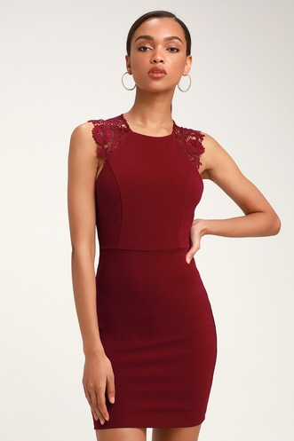 Come Alive Burgundy Lace Sleeveless Bodycon Dress 4314384ba