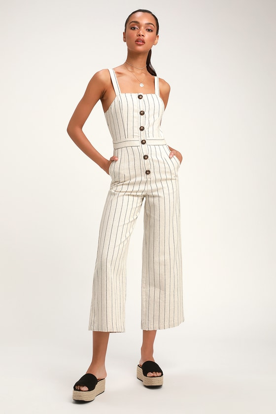db0fb872ee9 Beige Striped Jumpsuit - Culotte Jumpsuit - Button-Up Jumpsuit