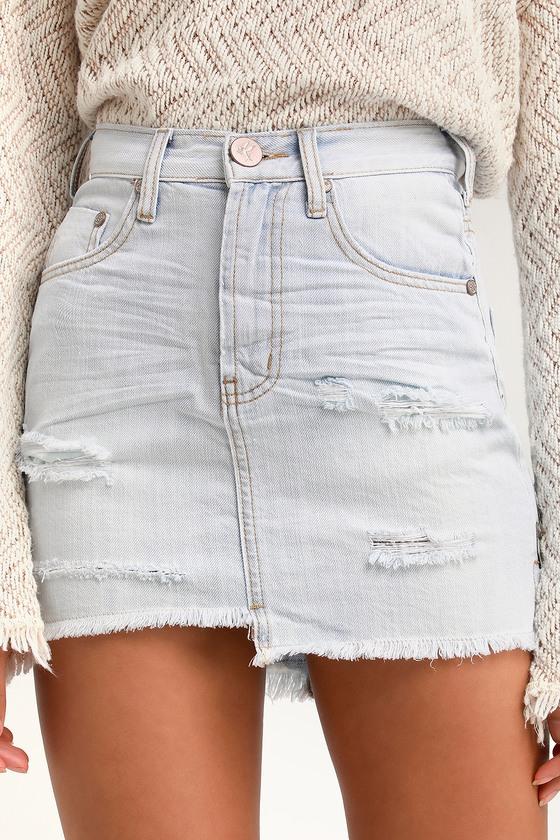 52303b108e One x One Teaspoon Brando 2020 - Light Wash Denim Mini Skirt