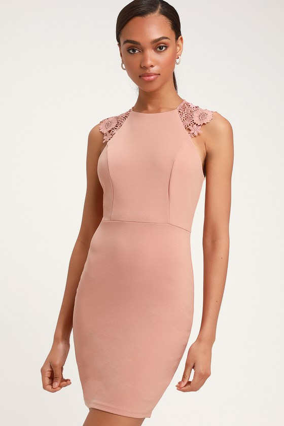 84d1aed2b Sexy Blush Pink Dress - Lace Dress - Lace Bodycon Dress - Dress