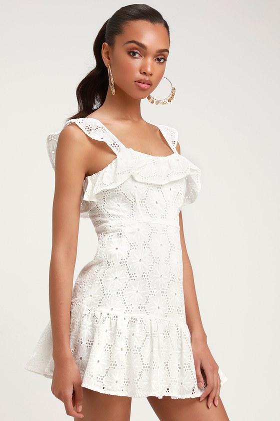 d7f937e1f448 Cute White Dress - Eyelet Lace Dress - Sleeveless Dress - Dress