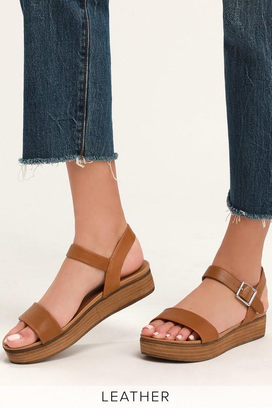 b2421c936d Steve Madden Aida - Cognac Leather Sandals - Flatform Sandals