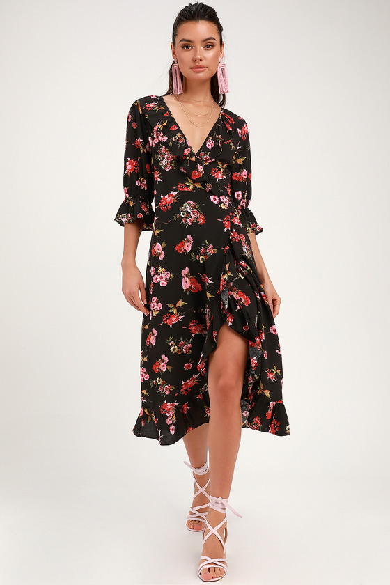 34557e72d11 Cute Black Wrap Dress - Ruffled Midi Dress - Floral Print Dress