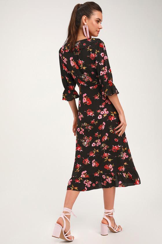 c16dc711c63 Cute Black Wrap Dress - Ruffled Midi Dress - Floral Print Dress