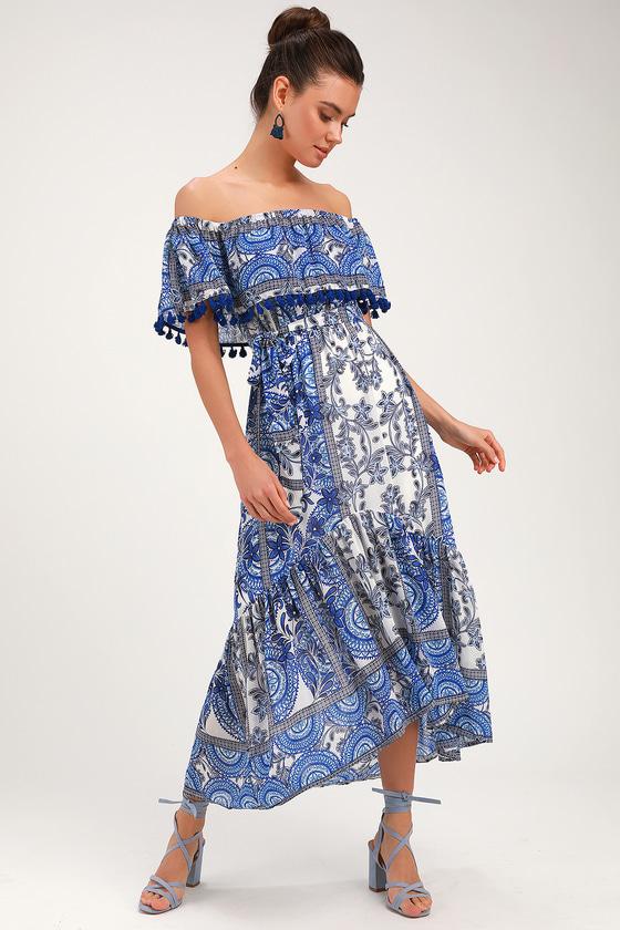 20dd95f021d9 Cute Blue and White Dress - Off-the-Shoulder Dress - Midi Dress