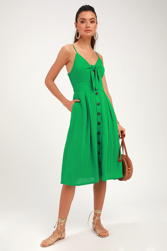 690a9af865 Cute Green Keyhole Dress - Front-Tying Midi Dress - Midi Dress