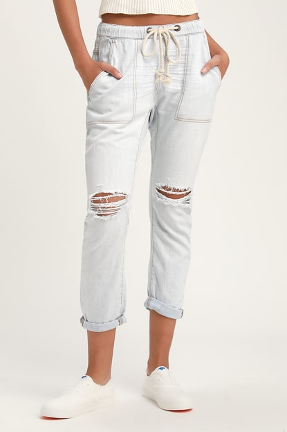 One Teaspoon SHABBIES LIGHT WASH DRAWSTRING DISTRESSED BOYFRIEND JEANS
