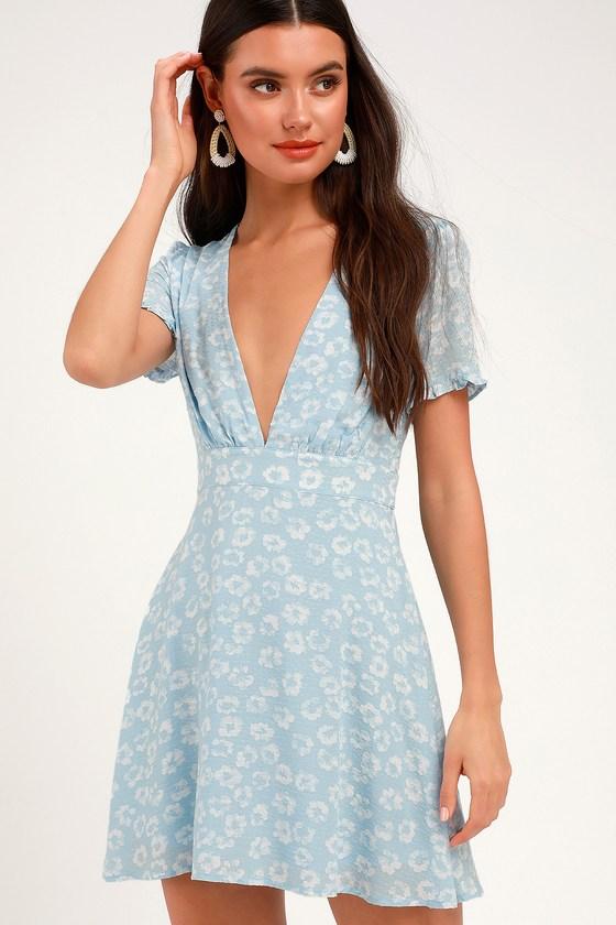 1d7e1dfd9d Cute Light Blue Floral Print Dress - Floral Mini Dress - Sundress