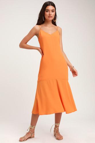 479df3558c1db Lovely Lilies Bright Orange Midi Dress