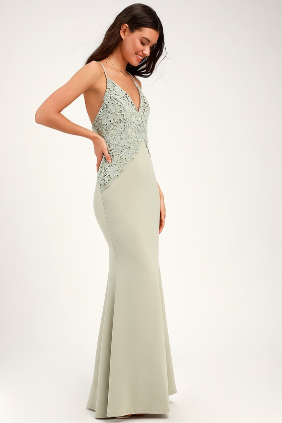 06cc3482765 Cute Lace Dress - Sage Green Maxi Dress - Backless Maxi Dress
