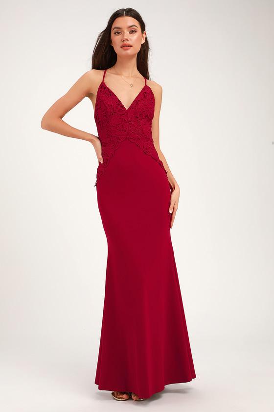 b21f9bd4d2 Cute Lace Dress - Wine Red Maxi Dress - Backless Maxi Dress