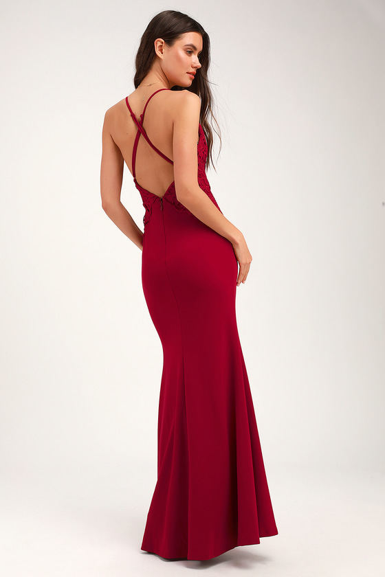 8253afd5fa9 She39s Gorgeous Wine Red LaceUp Rhinestone Maxi Dress t