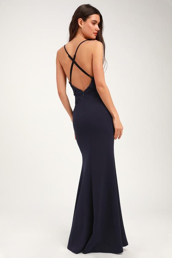f61243c5e75 Cute Lace Dress - Navy Blue Maxi Dress - Backless Maxi Dress