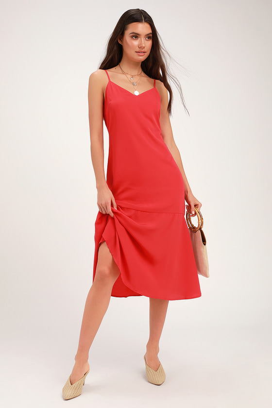 LOVELY LILIES RED MIDI DRESS