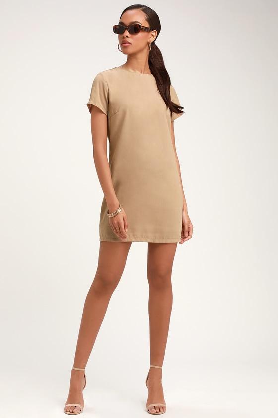 Chic Beige Dress - Shift Dress - Short Sleeve Dress f111c0a5a