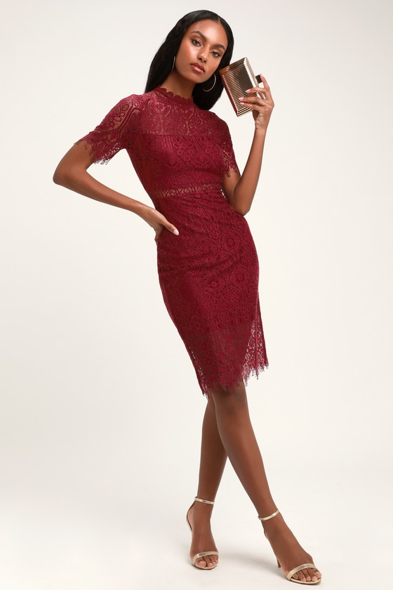 bfca86ba32ac Chic Burgundy Dress - Lace Dress - Sheath Dress