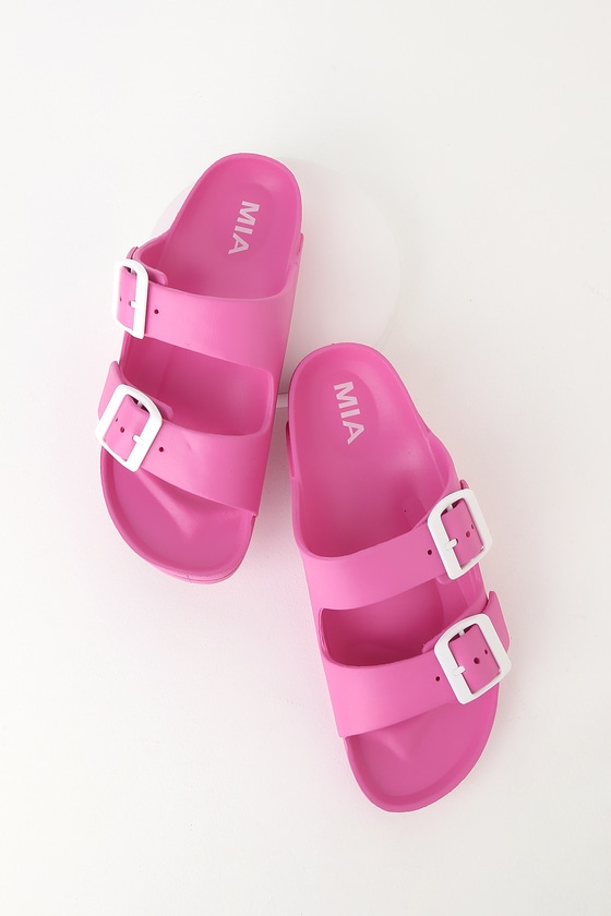 3e8443200a46 MIA Jasmin - Pink Sandals - Slide Sandals - Buckle Sandals