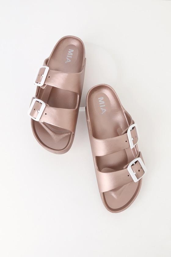 01eefc84c61 MIA Jasmin - Rose Gold Sandals - Slide Sandals - Buckle Sandals