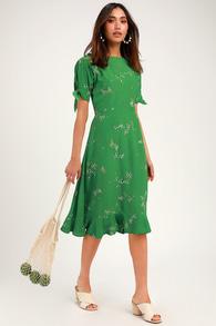 b0f95e5b5a50 Lovely Washed Olive Green Dress - Wrap Dress - Maxi Dress