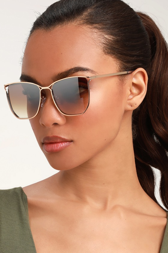 XENA GOLD AND BROWN SQUARE SUNGLASSES