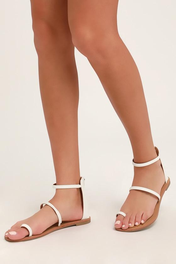 56615c206 Boho White Sandals - Flat Sandals - Ankle Strap Sandals