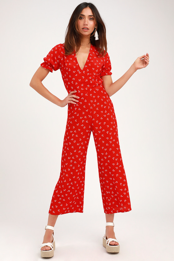 Faithfull The Brand MALLORY RED PRINT SHORT SLEEVE JUMPSUIT