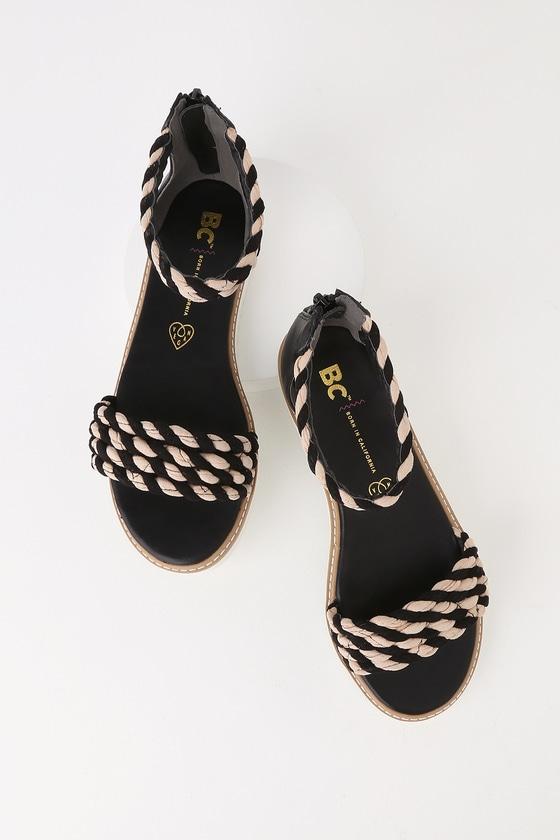 616495b88b7 BC Footwear On a Pedestal Sandals - Black and Sand Sandals
