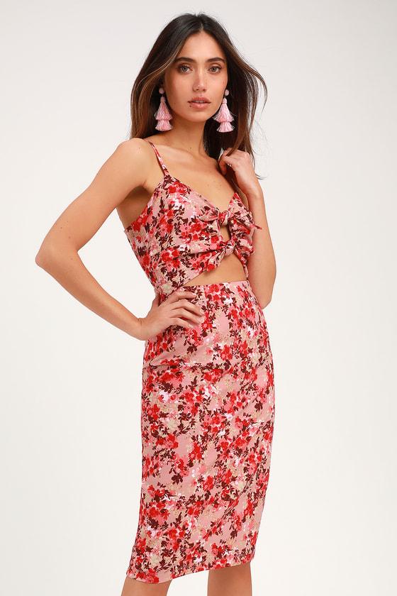 cc55c24a60 WAYF Victoria Dress - Pink Floral Print Dress - Tie-Front Dress