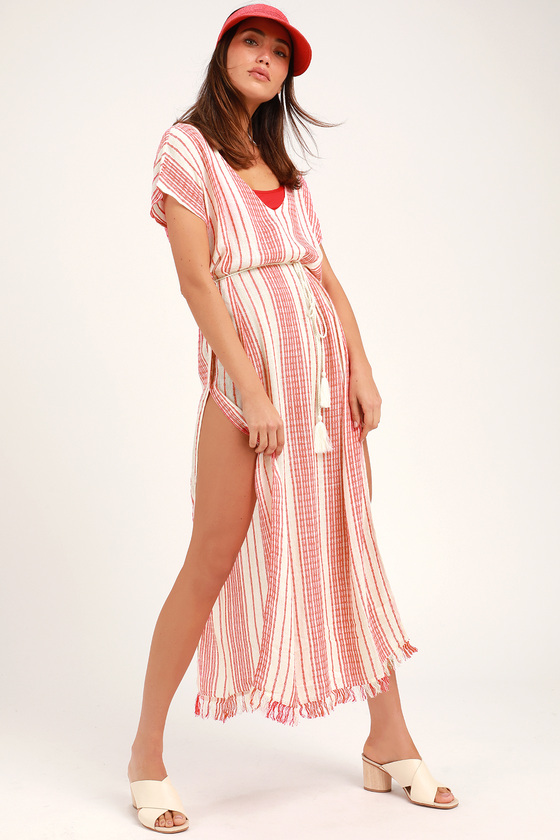 53d63863bedf Cute Red and White Cover-Up - Striped Swim Cover - Maxi Cover